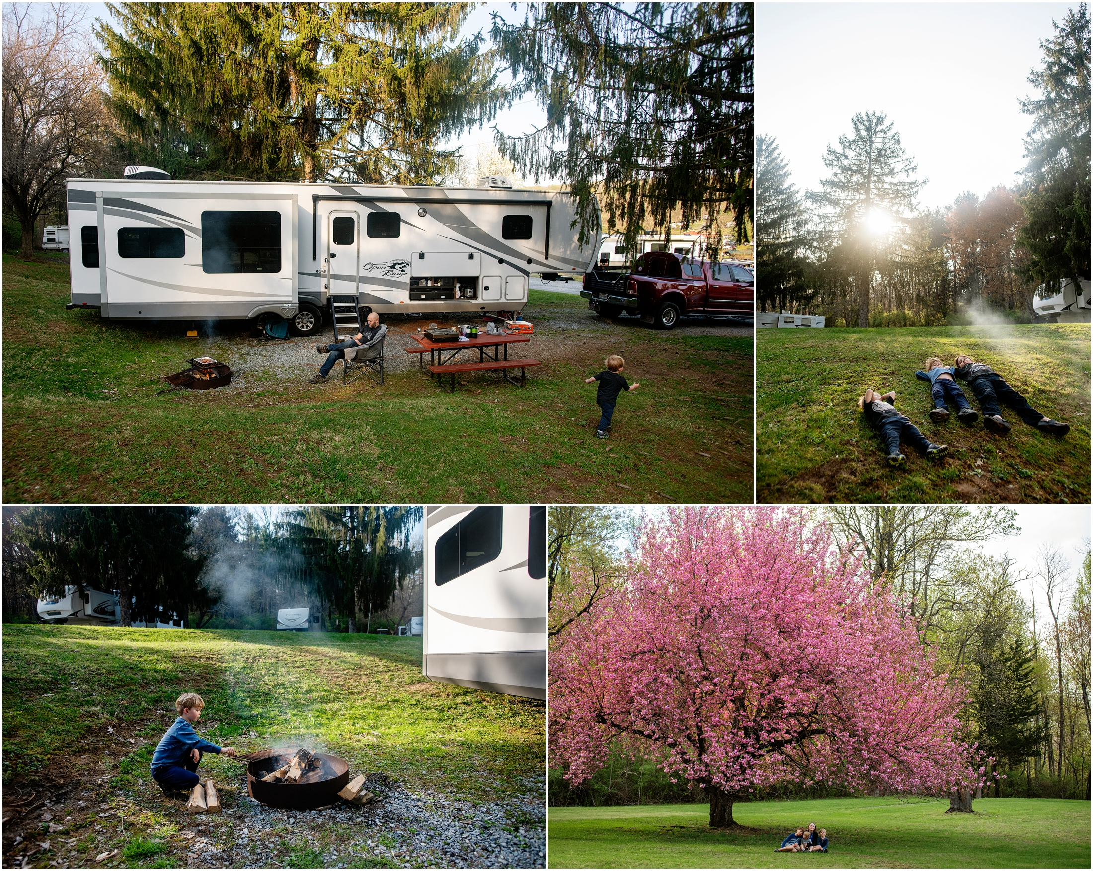 collage of photos at hershey rv park thousand trails in pennsylvania