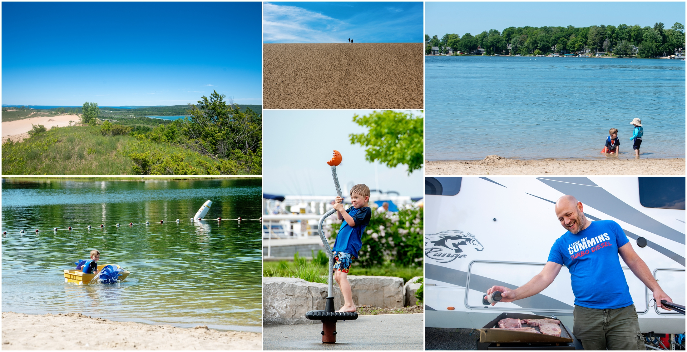 photo collage of sleeping bear dunes and holiday park campground