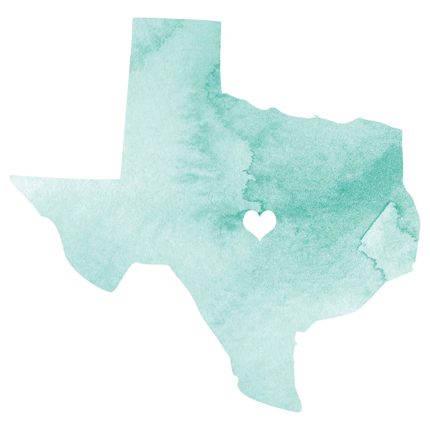 watercolor texas graphic with heart over austin