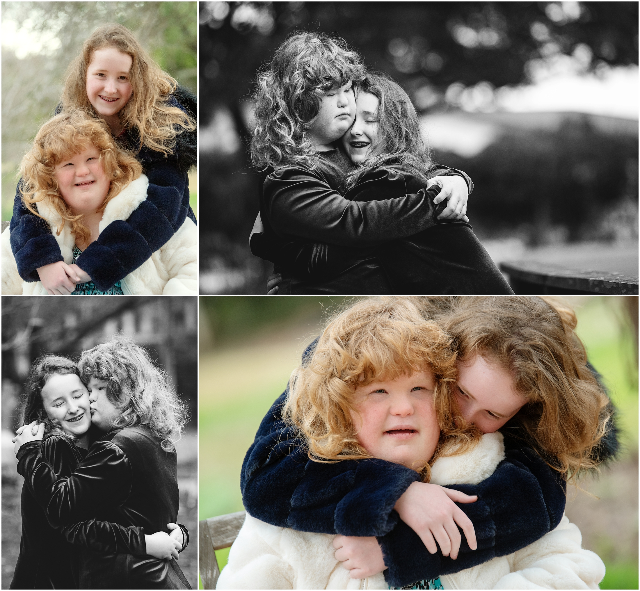 photo collage of two sisters hugging