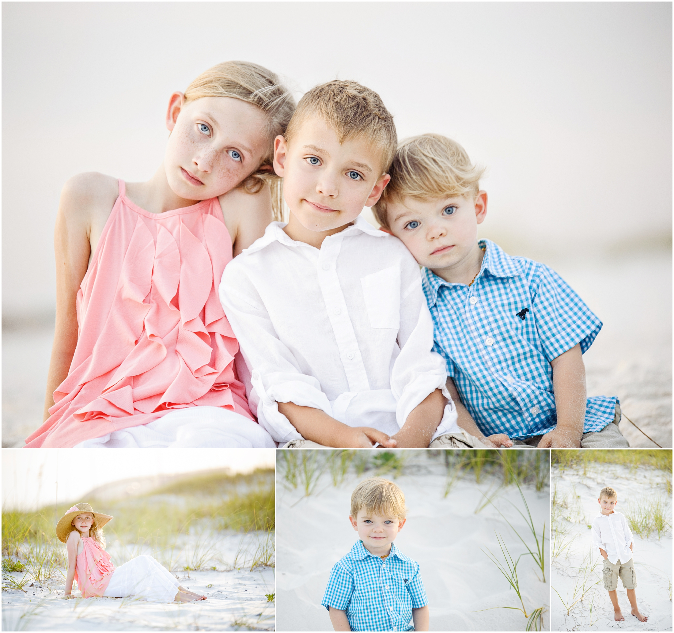 collage children at the beach family photos