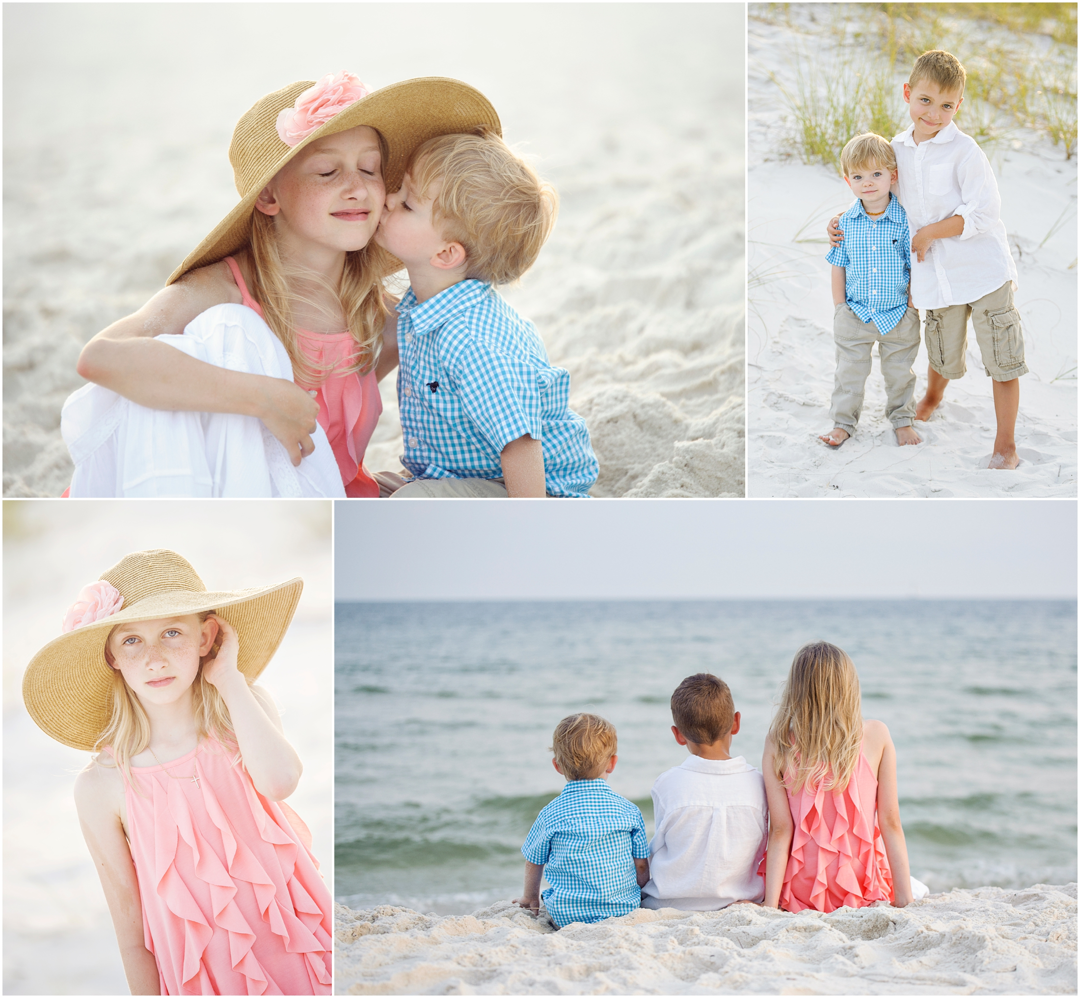 collage photos at the beach three kids