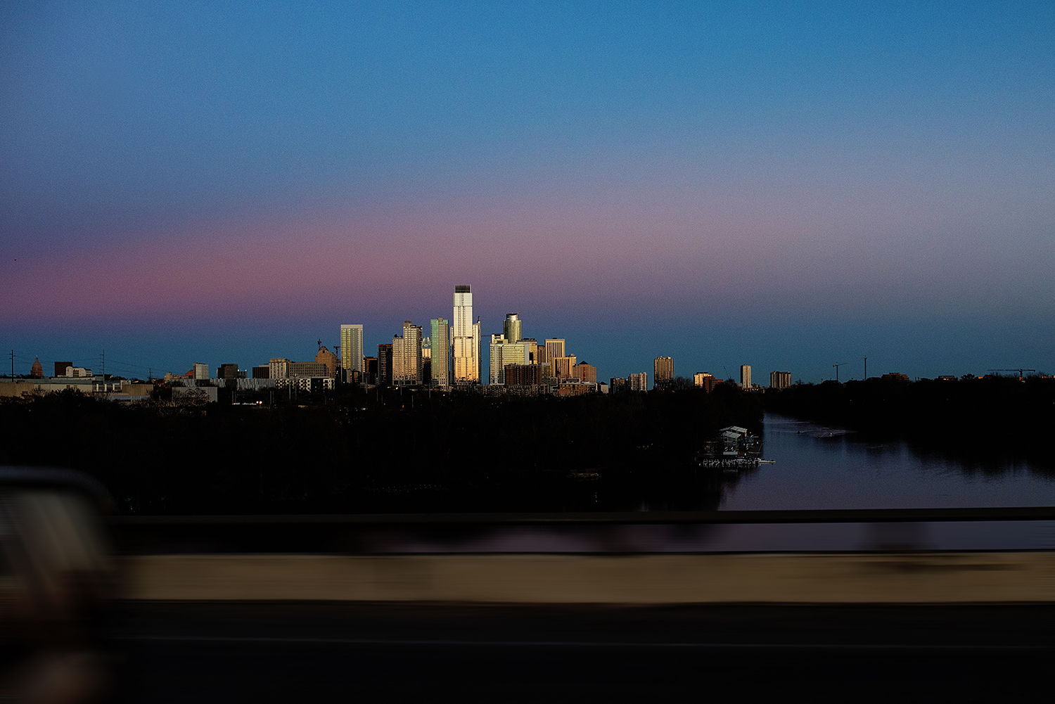 photos of austin city skyline from the interstate